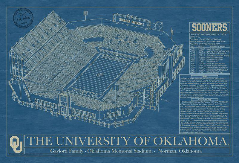 Oklahoma - Gaylord Family Oklahoma Memorial Stadium - Blueprint Art