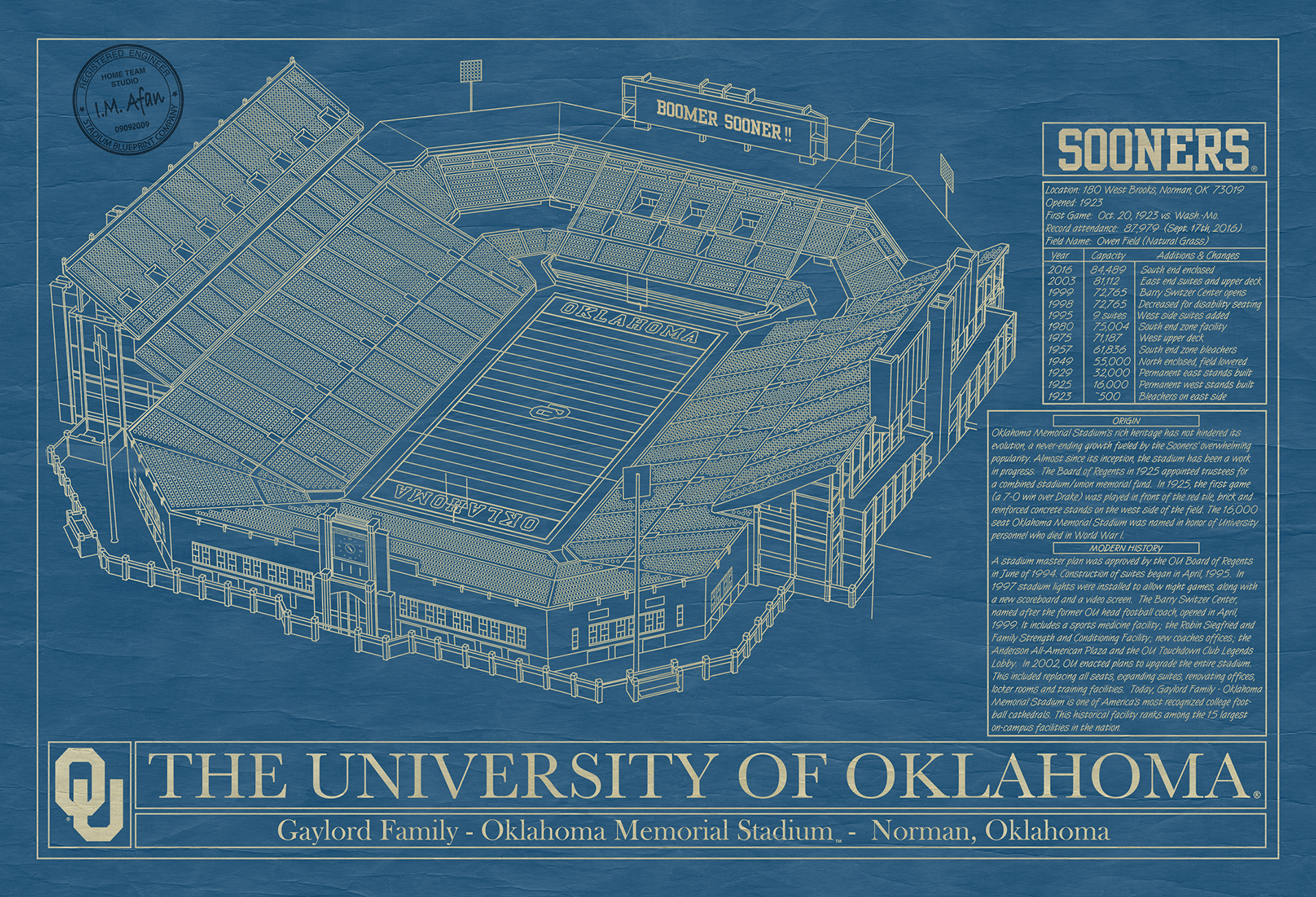 Oklahoma gaylord family oklahoma memorial stadium blueprint art click malvernweather Image collections