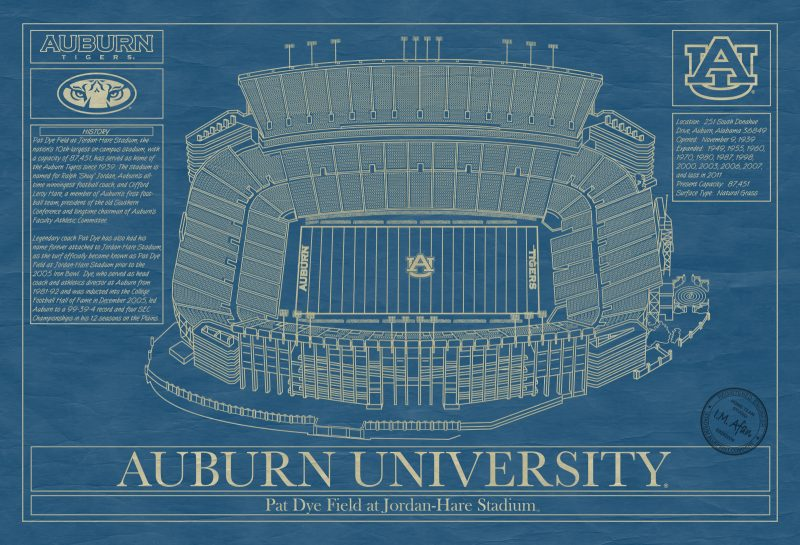 Auburn University - Jordan-Hare Stadium Blueprint