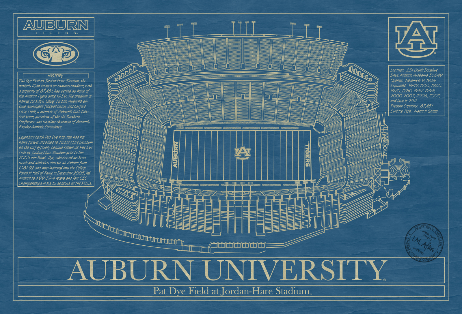 Auburn university archives stadium blueprint company auburn university jordan hare stadium blueprint art malvernweather Image collections