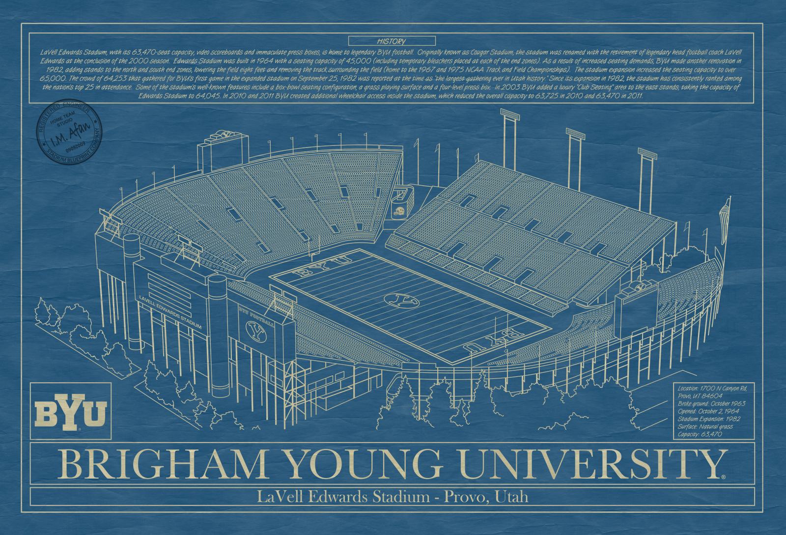 Brigham young university archives stadium blueprint company brigham young university lavell edwards stadium blueprint art malvernweather Gallery