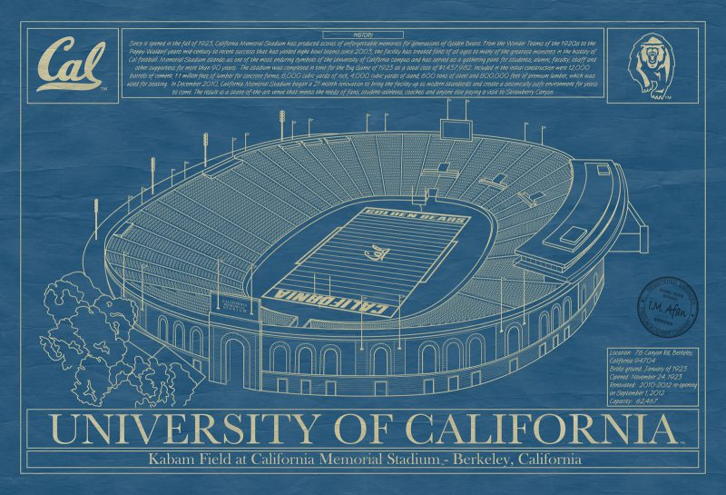 University of California - Berkeley - California Memorial Stadium Blueprint