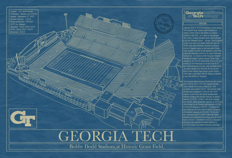 Georgia Tech University - Bobby Dodd Stadium Blueprint