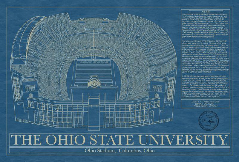 Ohio State University - Ohio Stadium - Blueprint Art