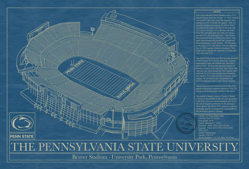 Penn State University - Beaver Stadium Blueprint