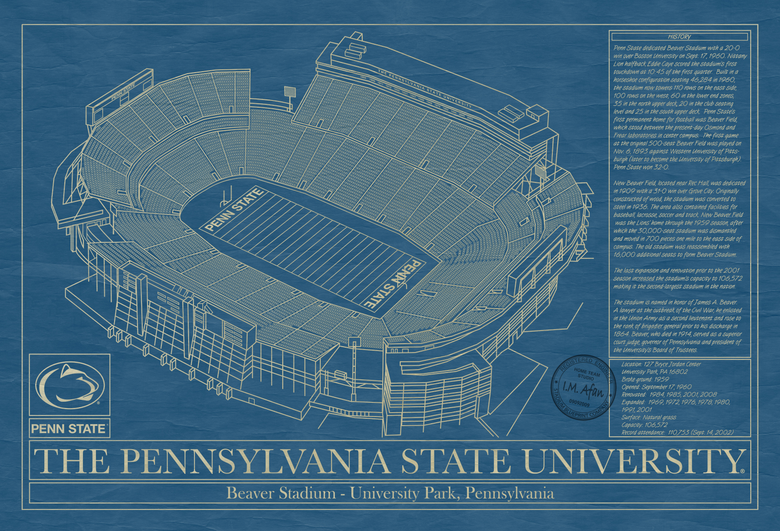 Penn state university beaver stadium blueprint art stadium penn state university beaver stadium blueprint malvernweather Image collections