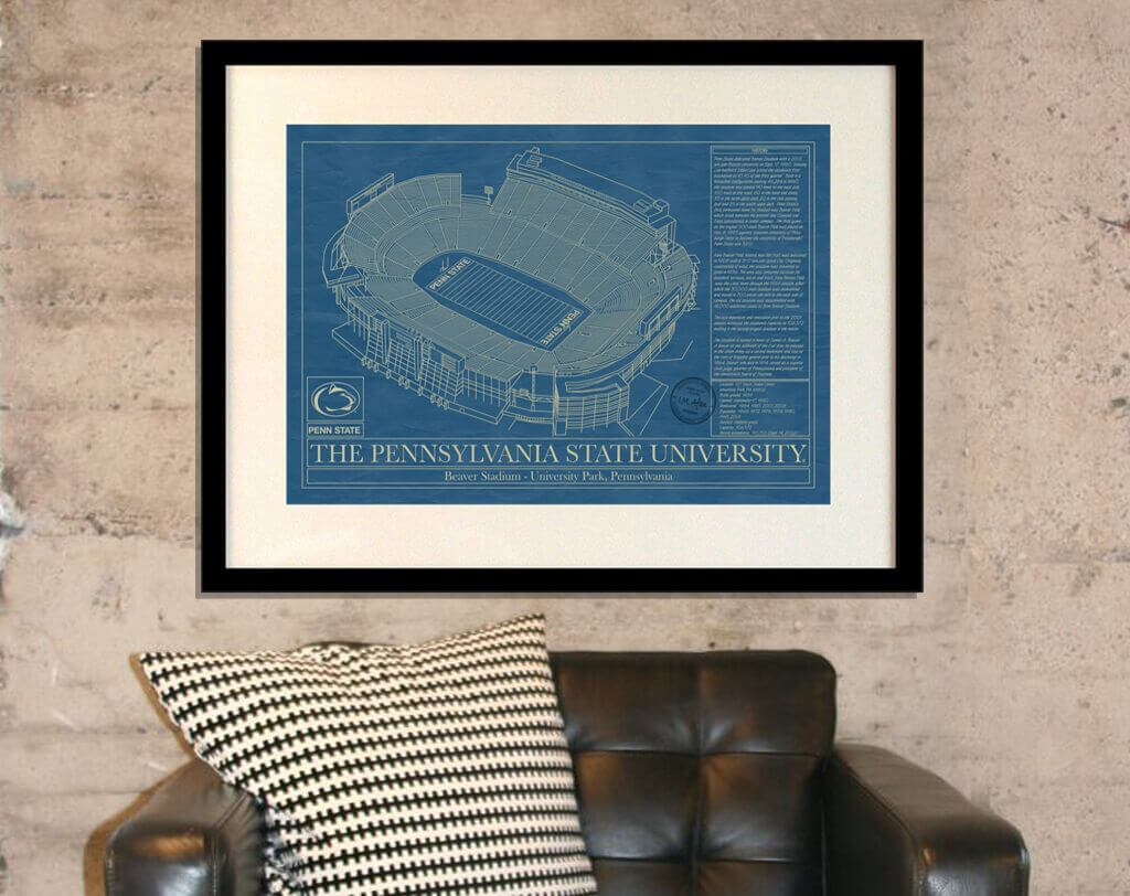 Blueprints wall art stadium blueprint company penn state university beaver stadium blueprint malvernweather Choice Image