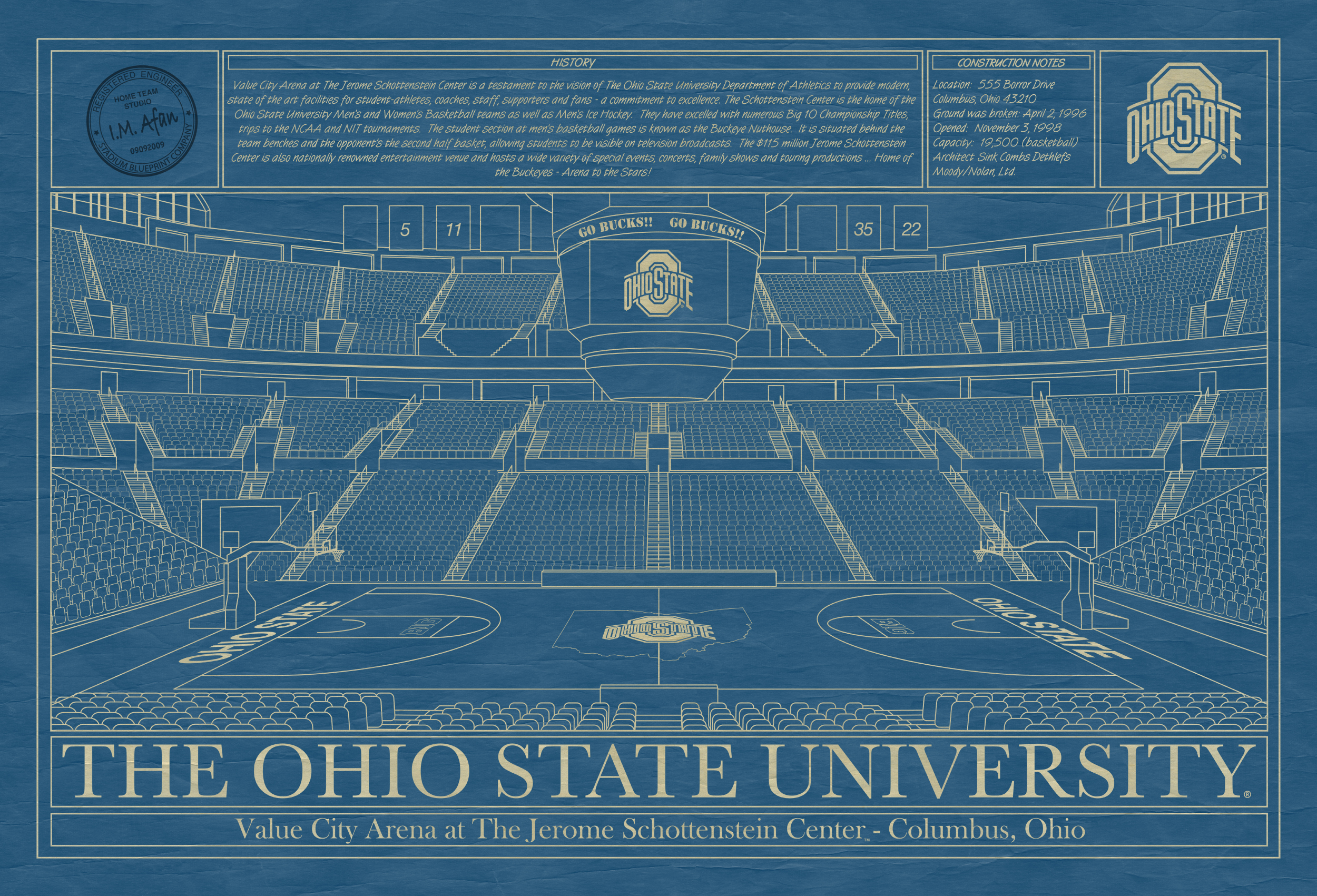 Oklahoma university lloyd noble center in school colors stadium ohio state university value city arena at the jerome schottenstein center blueprint art malvernweather Image collections