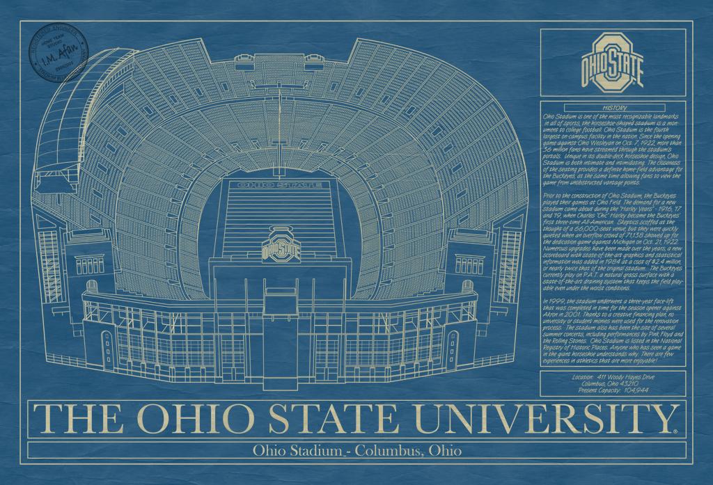 Ohio state university ohio stadium blueprint art stadium the ohio state university ohio stadium blueprint malvernweather Image collections