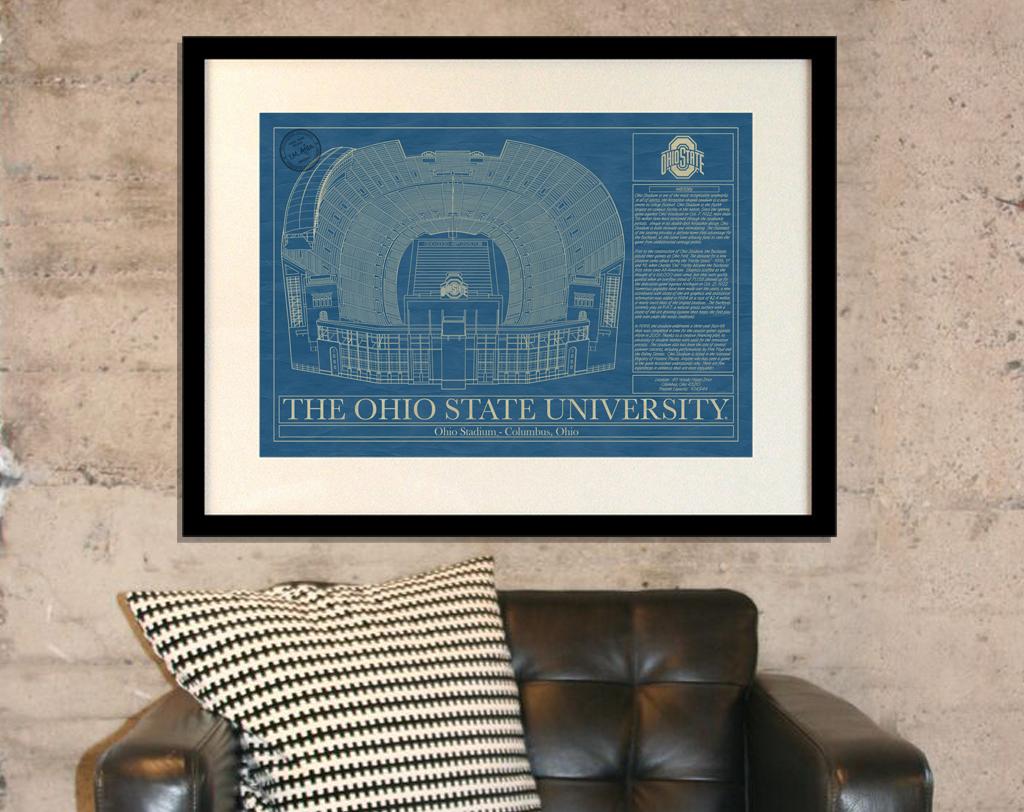 Ohio state university ohio stadium blueprint art stadium the ohio state university ohio stadium blueprint malvernweather Images