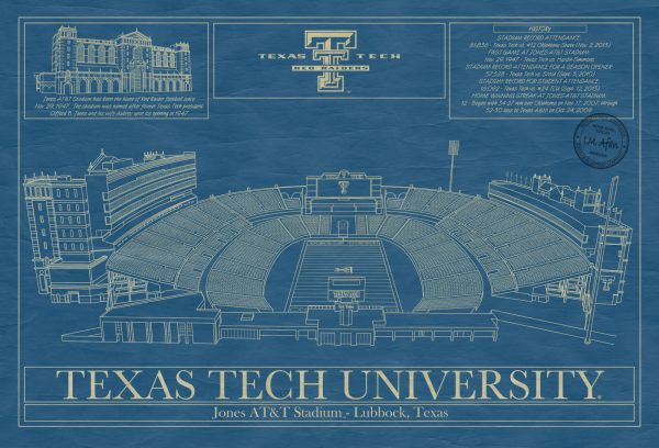 Texas Tech University - Jone AT&T Stadium Blueprint