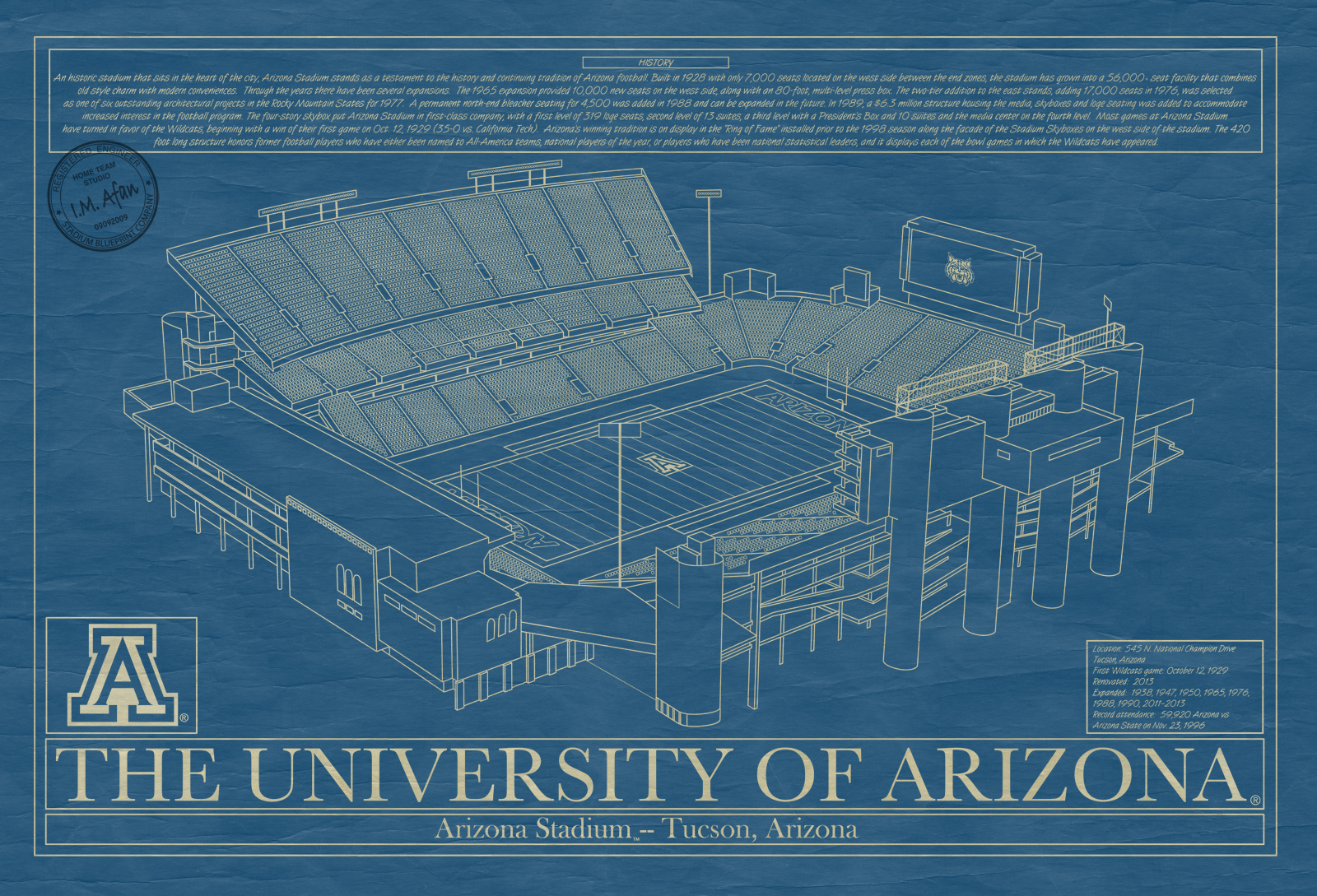 College football archives stadium blueprint company arizona arizona stadium blueprint art malvernweather Image collections