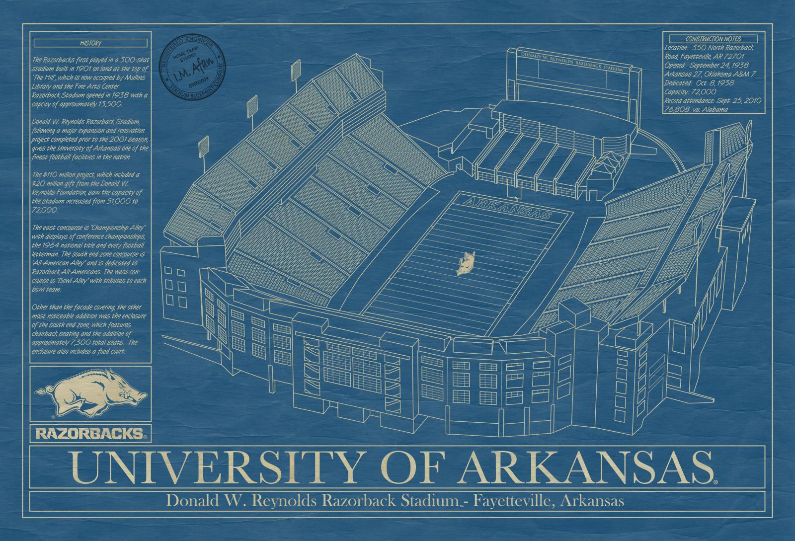 Arkansas razorback stadium blueprint art stadium for Arkansas blueprint