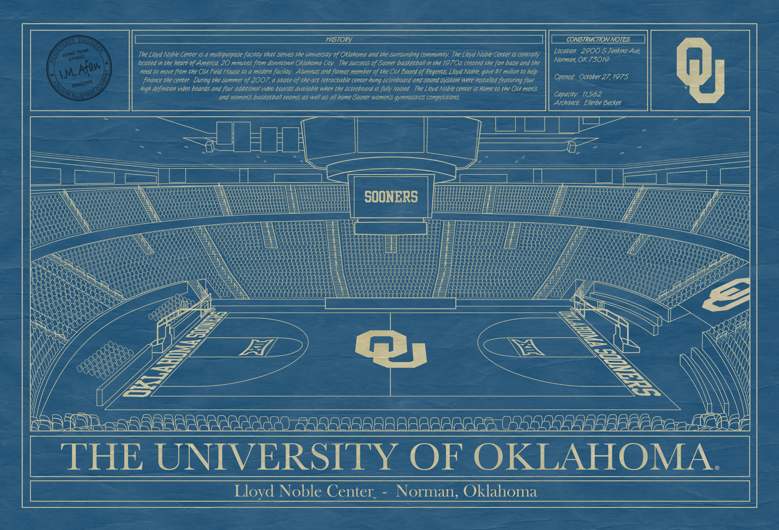 University of oklahoma archives stadium blueprint company oklahoma lloyd noble center blueprint art malvernweather Image collections