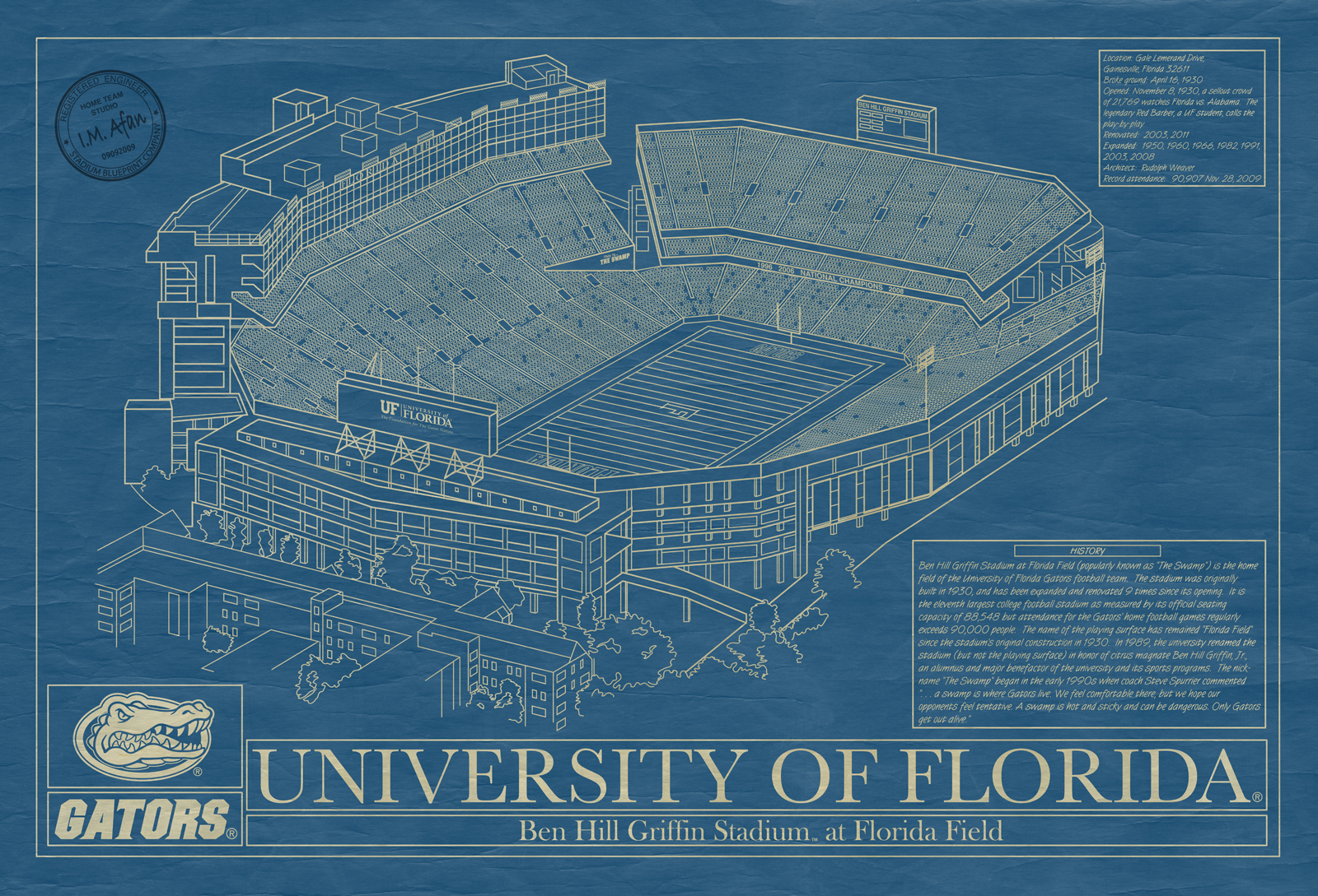 florida ben hill griffin stadium blueprint art