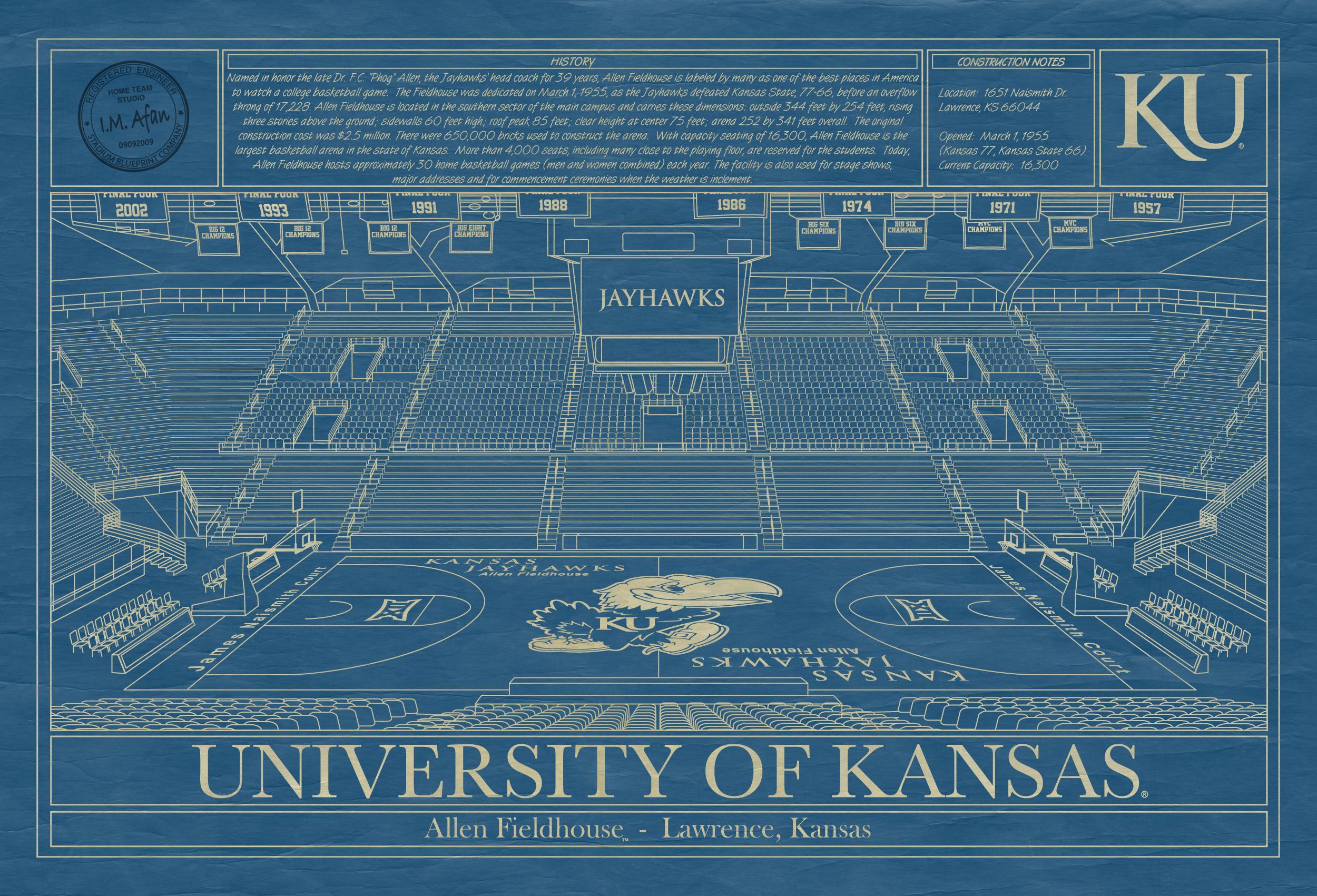 Kansas allen fieldhouse blueprint art stadium blueprint company university of kansas allen fieldhouse blueprint malvernweather Choice Image