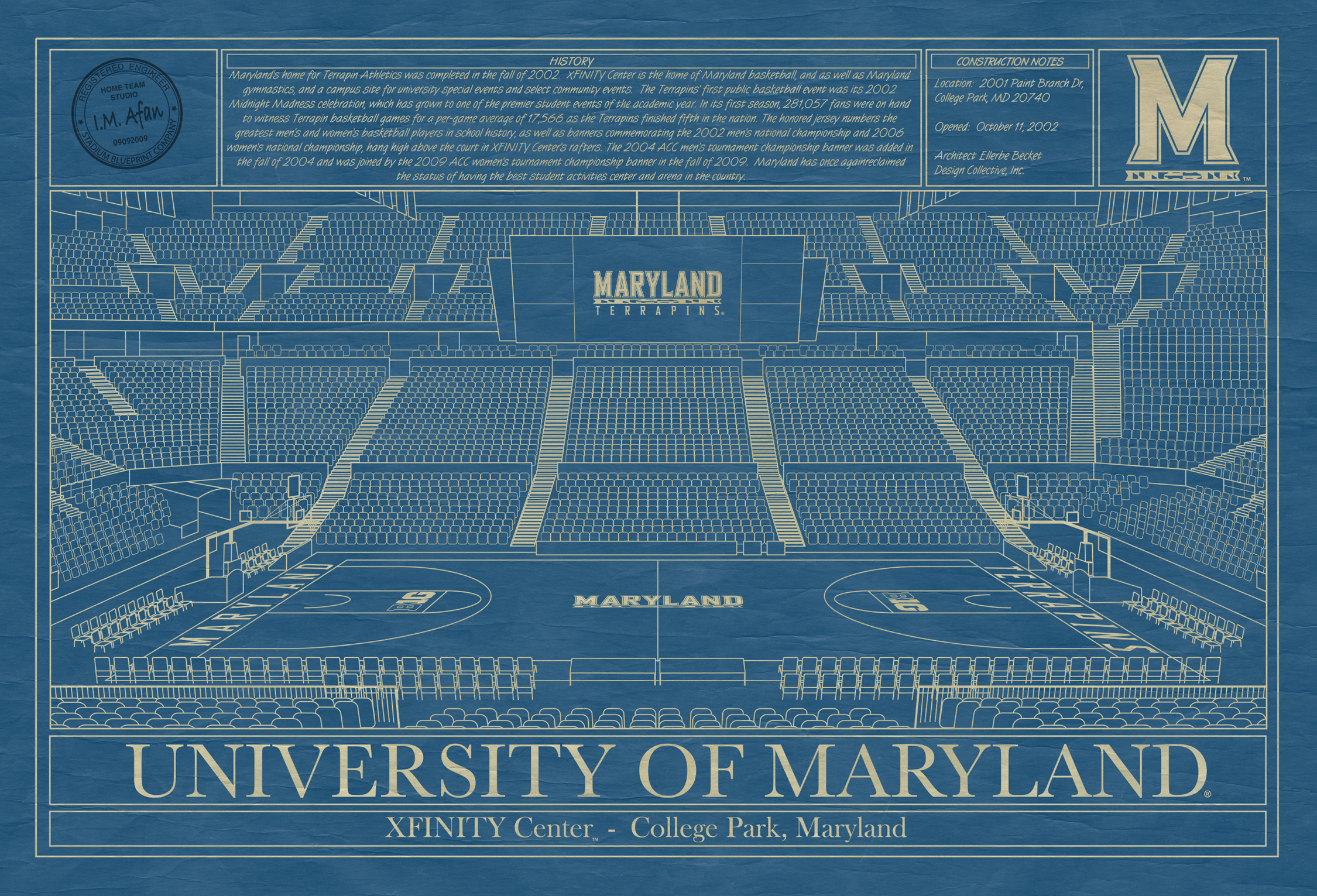 University of maryland archives stadium blueprint company maryland xfinity center college park blueprint art malvernweather Image collections