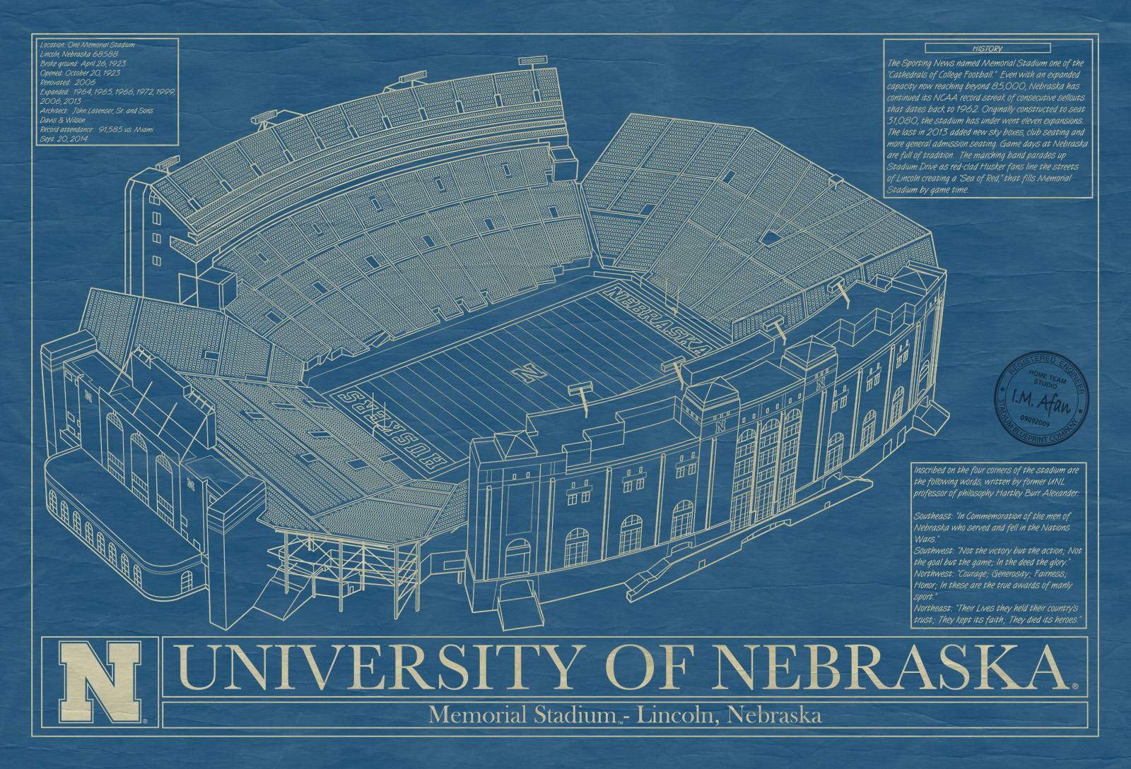 Nebraska memorial stadium lincoln blueprint art stadium university of nebraska memorial stadium lincoln blueprint malvernweather Images