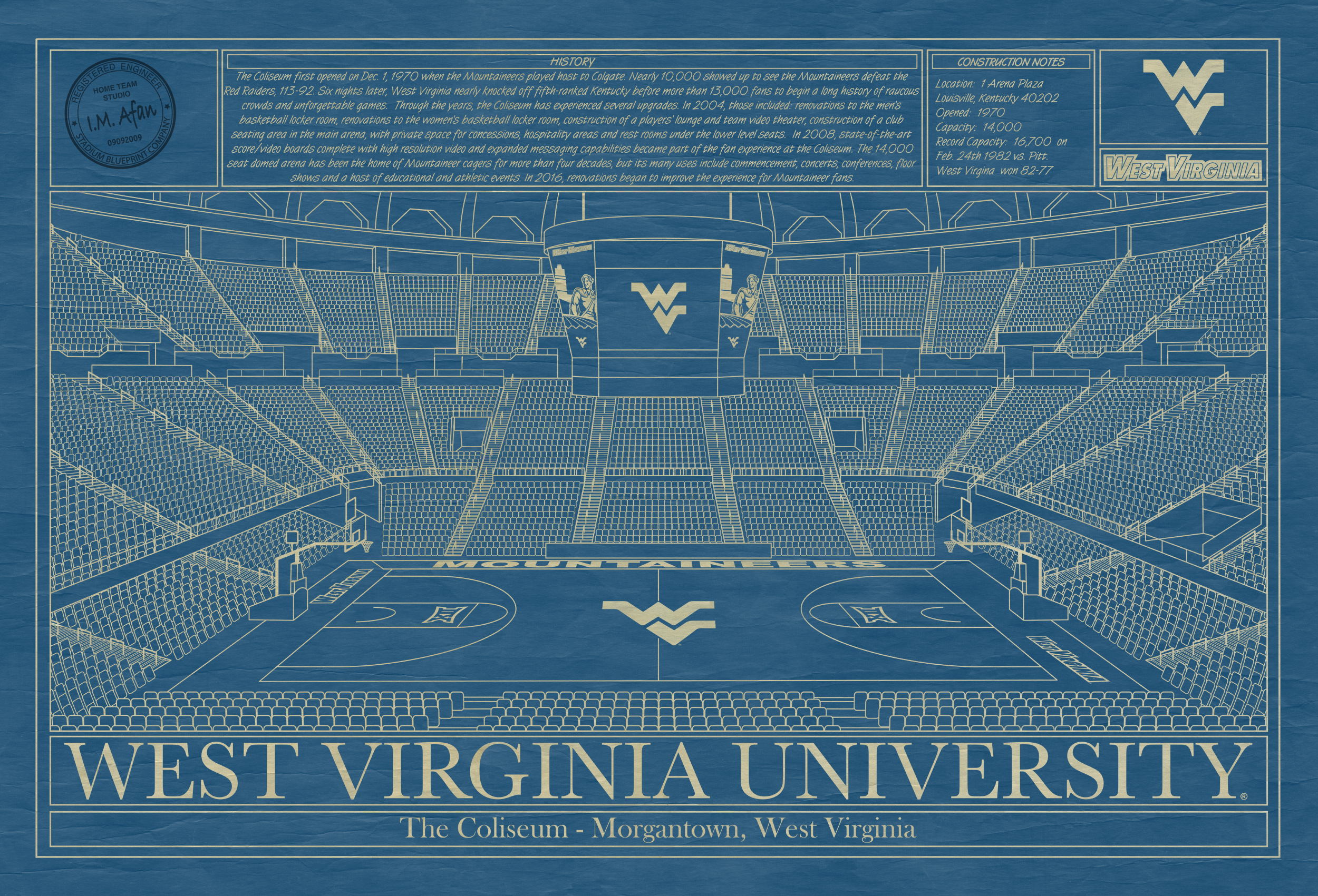 West virginia university archives stadium blueprint company west virginia university wvu coliseum blueprint art malvernweather Image collections