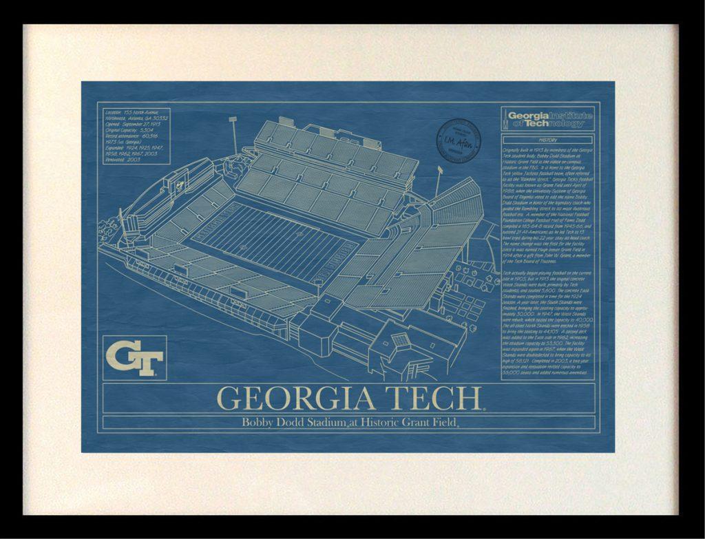Georgia tech bobby dodd stadium blueprint art stadium georgia tech university bobby dodd stadium blueprint malvernweather Images