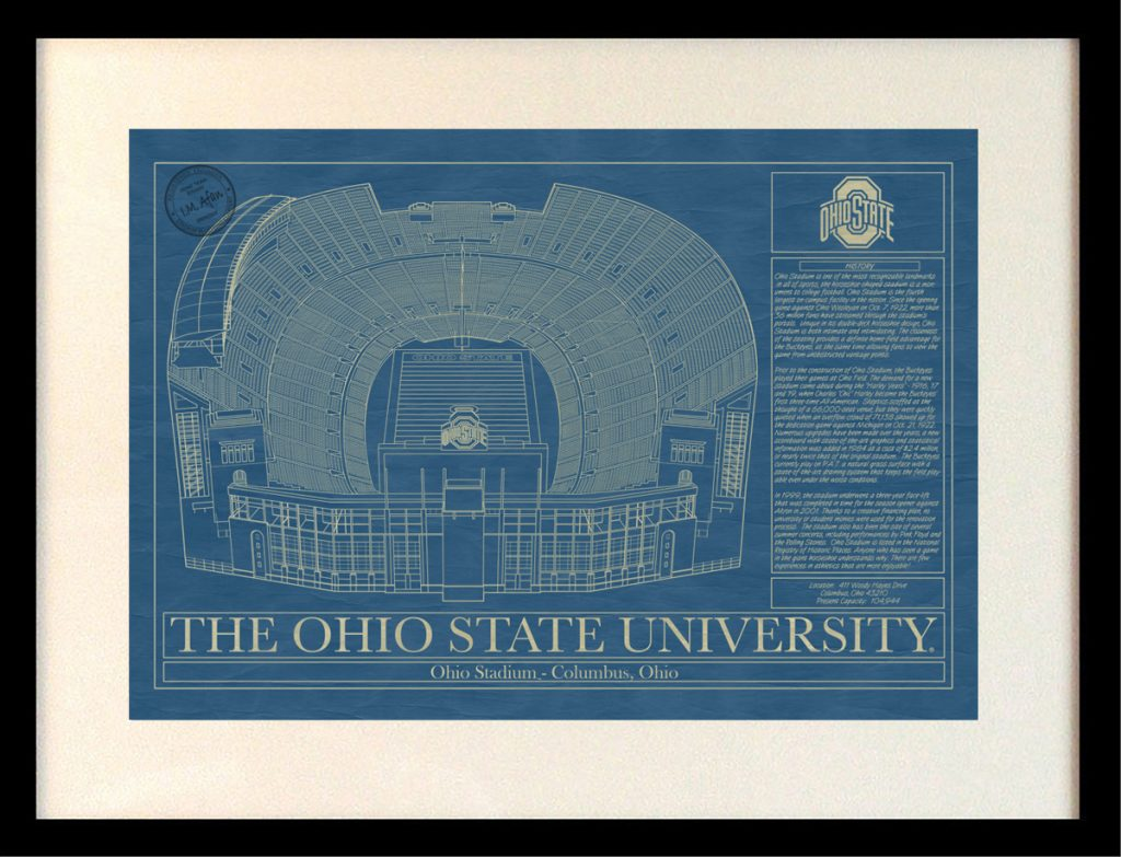 Ohio state university ohio stadium blueprint art stadium the ohio state university ohio stadium blueprint malvernweather Images