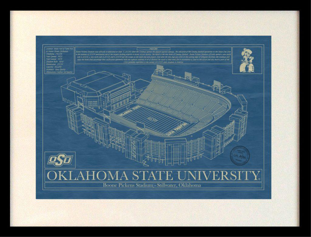 Oklahoma state university boone pickens stadium blueprint art oklahoma state university boone pickens stadium blueprint malvernweather Choice Image