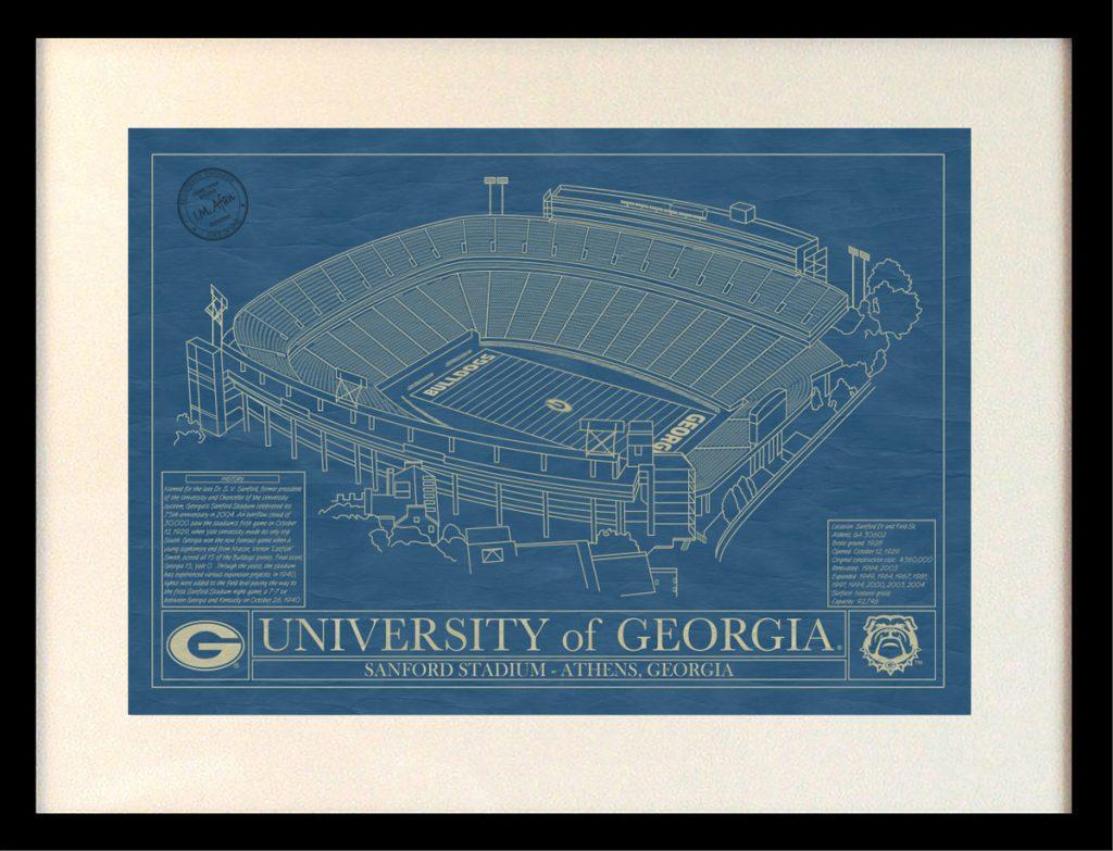 Georgia sanford stadium blueprint art stadium blueprint company click malvernweather Images