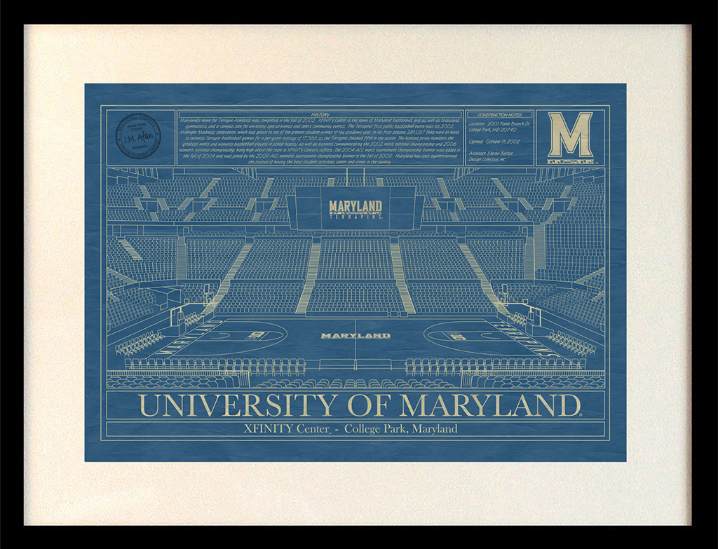 Maryland xfinity center college park blueprint art stadium university of maryland xfinity center college park blueprint malvernweather Image collections