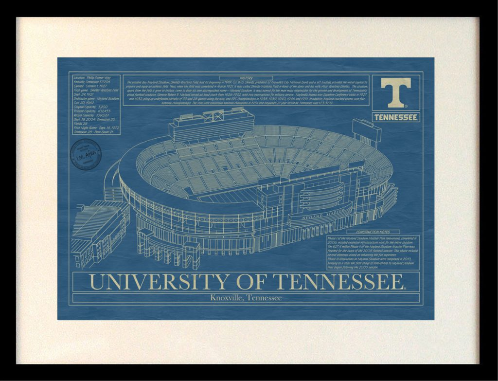 Tennessee neyland stadium blueprint art stadium blueprint university of tennessee neyland stadium blueprint malvernweather Gallery