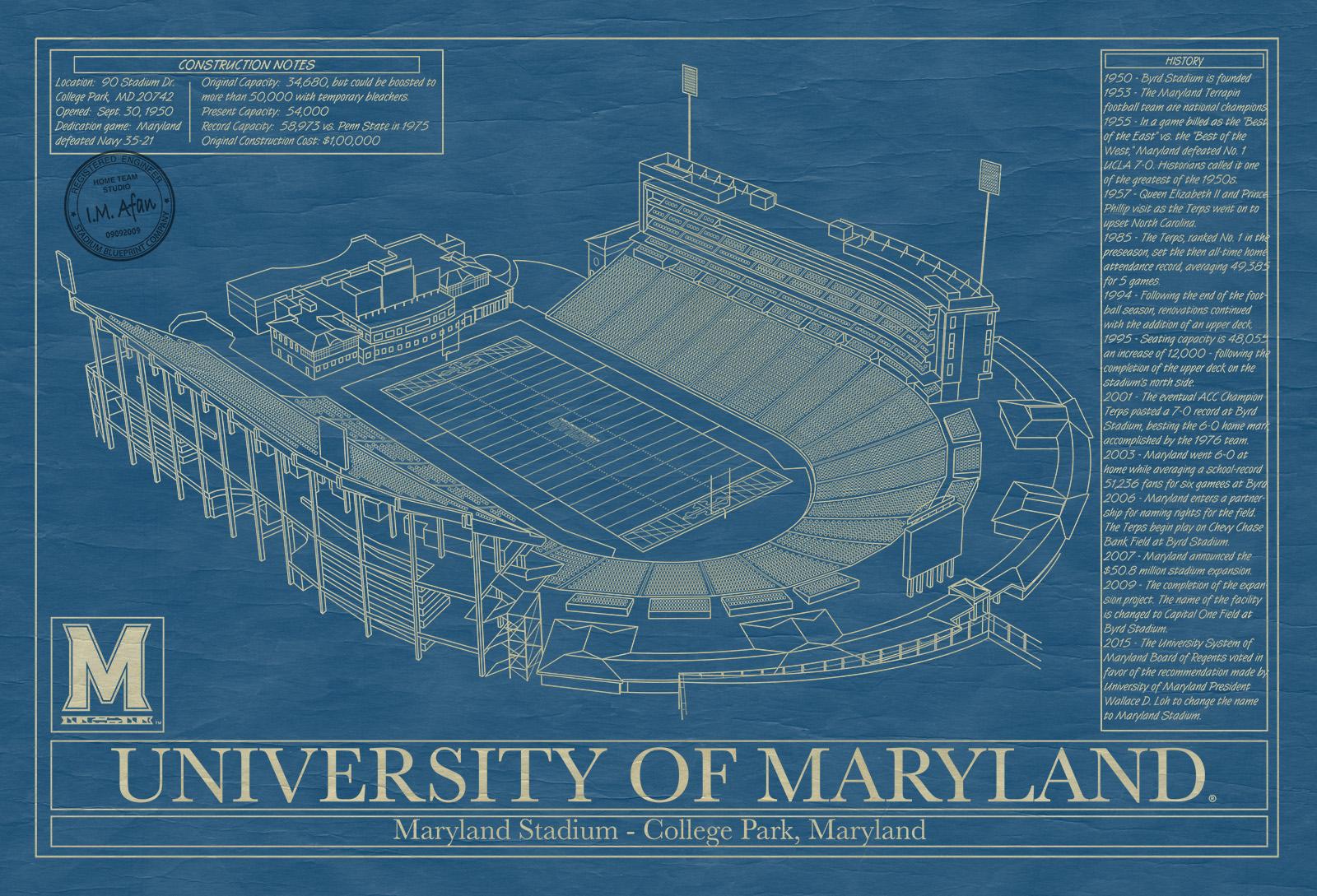 Maryland maryland stadium blueprint art stadium blueprint company click to enlarge malvernweather Image collections