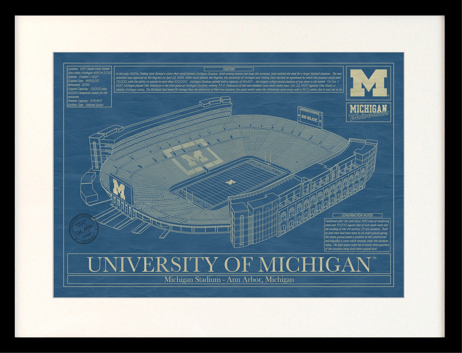 Michigan michigan stadium blueprint art stadium blueprint company click malvernweather Image collections