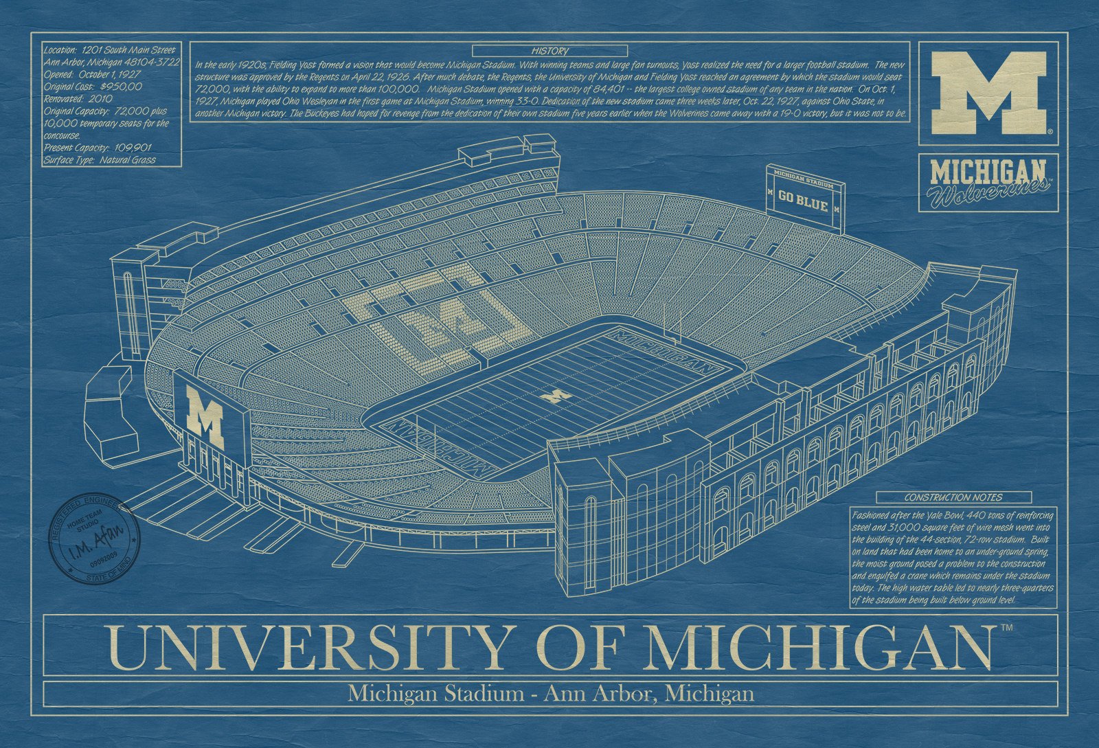Michigan michigan stadium blueprint art stadium blueprint company click malvernweather Gallery