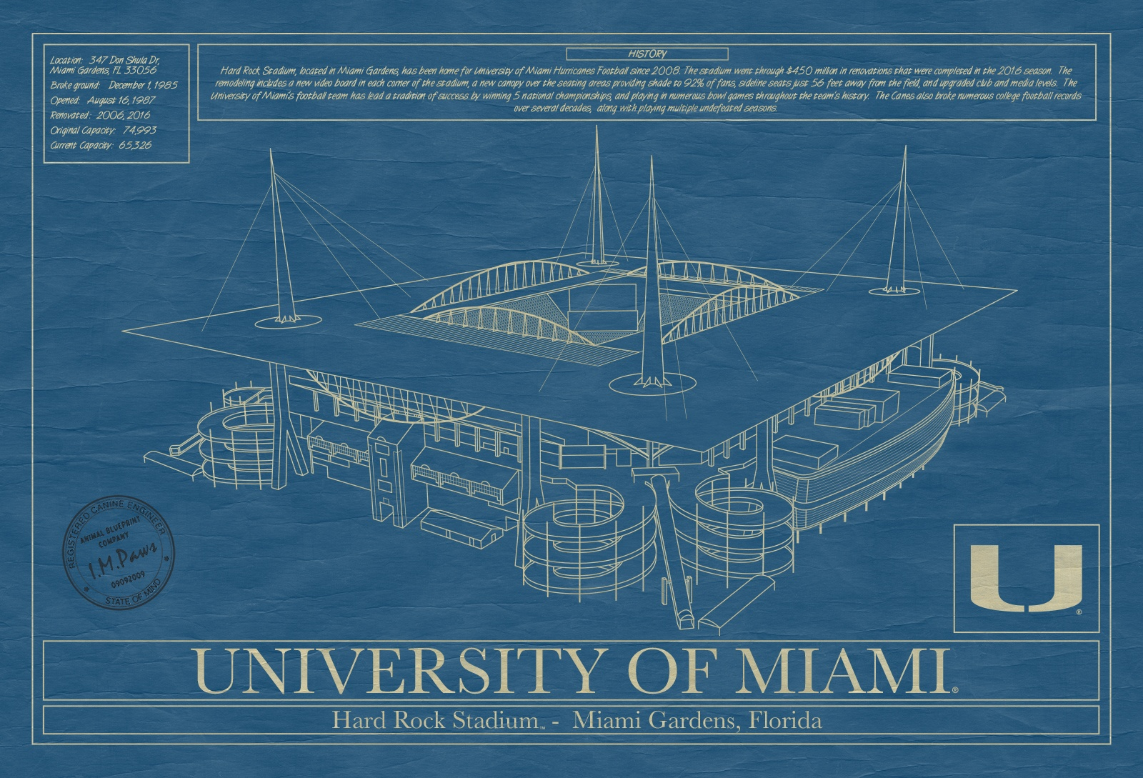 Miami hard rock stadium blueprint art stadium blueprint company miami hard rock stadium blueprint art malvernweather Choice Image