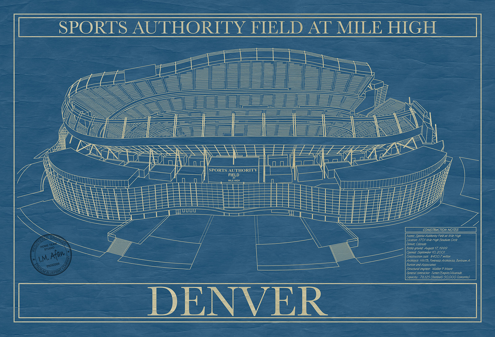 Denver sports authority field at mile high stadium blueprint company click to enlarge malvernweather Images