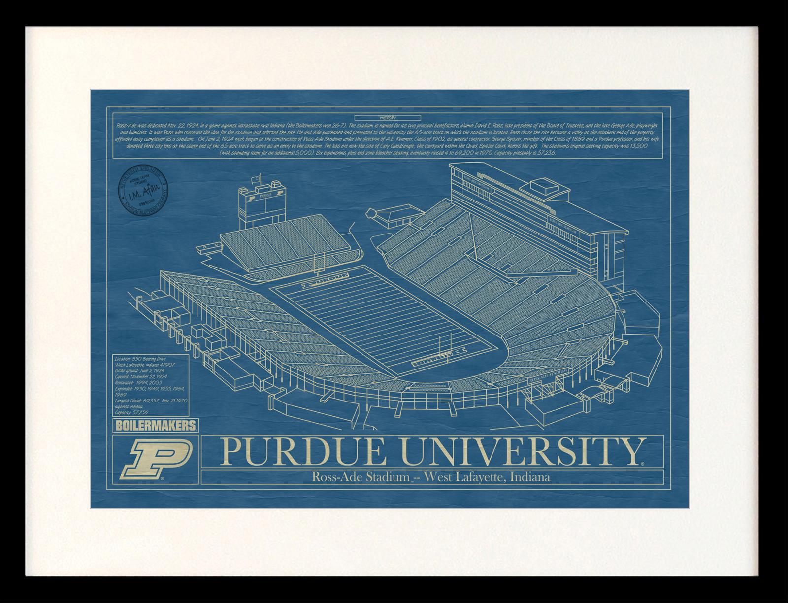 Purdue university ross ade stadium blueprint art stadium purdue university ross ade stadium blueprint art malvernweather Gallery