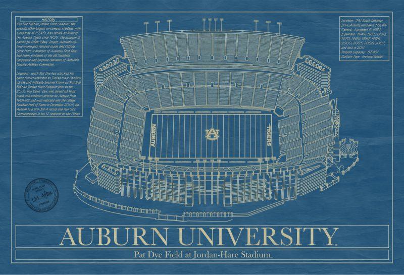 Auburn University - Jordan-Hare Stadium Blueprint