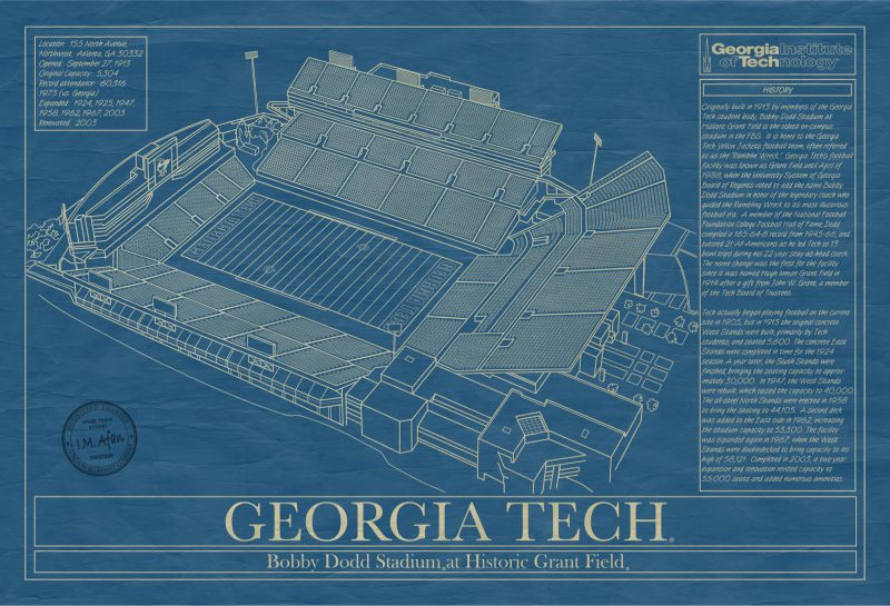 Georgia Tech - Bobby Dodd Stadium - Blueprint Art