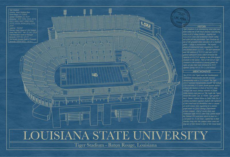 Louisiana State University - Tiger Stadium - Blueprint Art