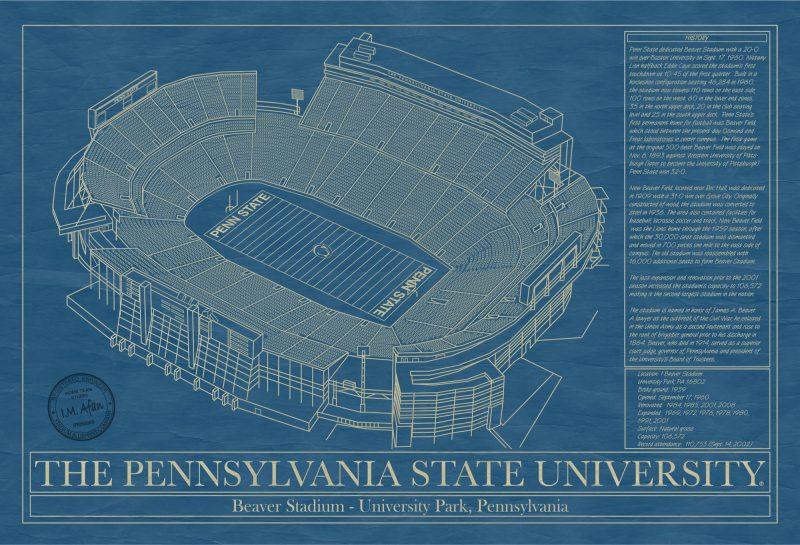 Pennsylvania State University - Beaver Stadium - Blueprint Art