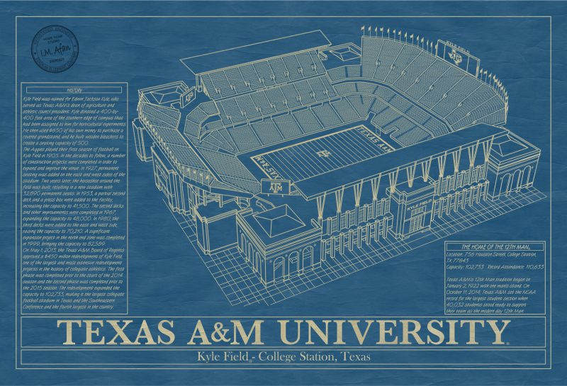 Texas A&M University - Kyle Field - Blueprint Art
