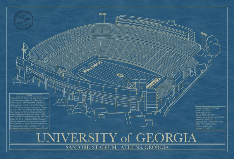 Georgia - Sanford Stadium - Blueprint Art