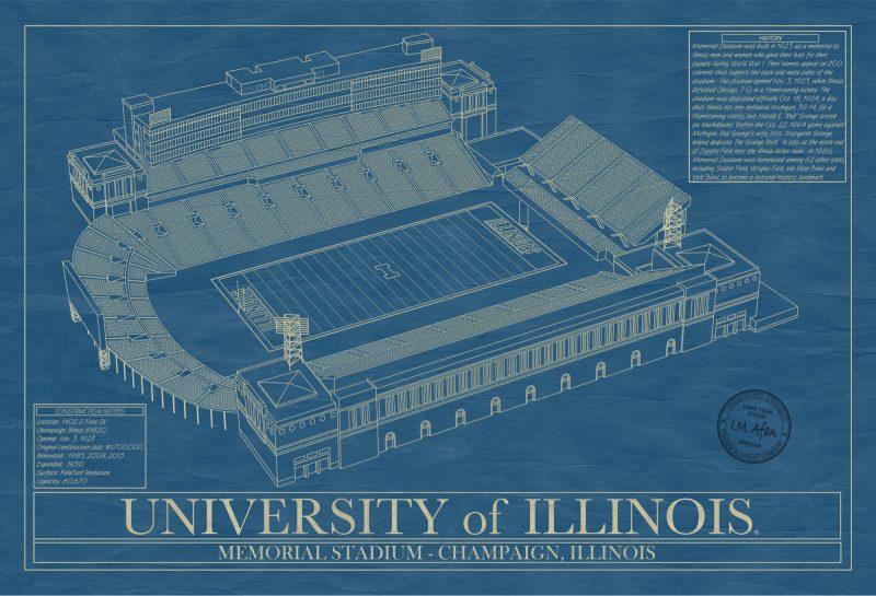 University of Illinois - Memorial Stadium - Blueprint Art