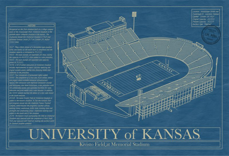 Kansas - Memorial Stadium - Blueaprint Art