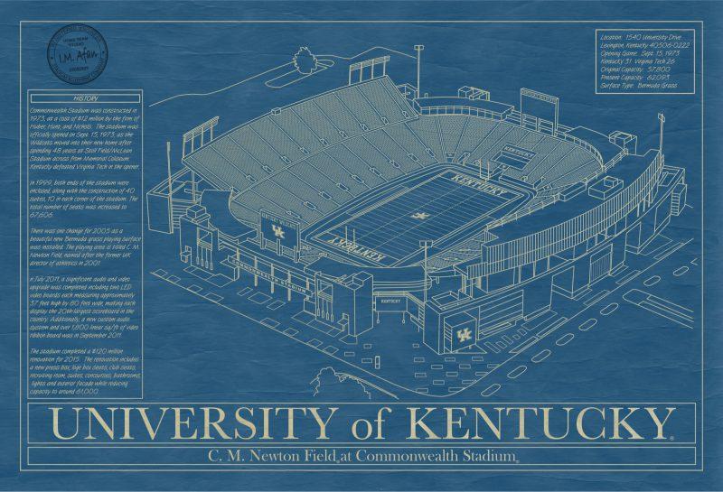 University of Kentucky - Kroger Field Stadium - Blueprint Art