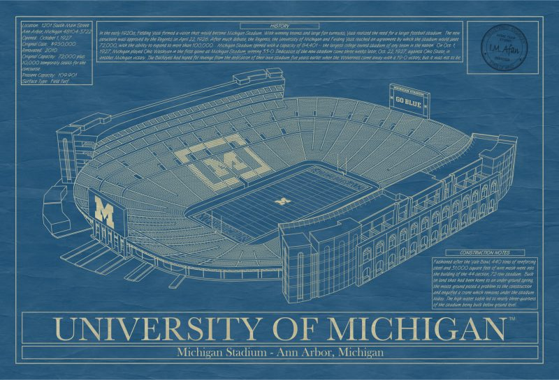 Michigan - Michigan Stadium - Blueprint Art