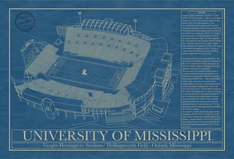 University of Mississippi - Vaught–Hemingway Stadium - Blueprint Art