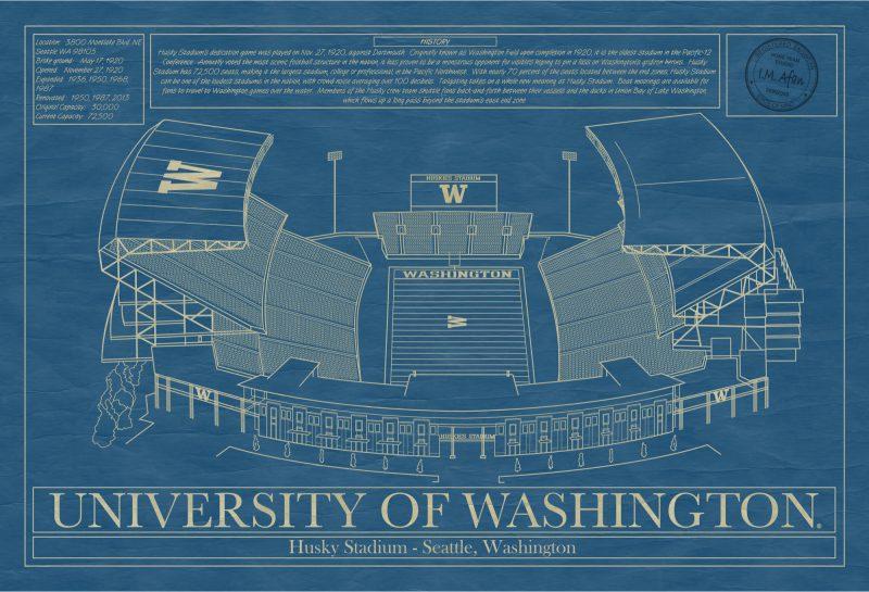 Washington - Husky Stadium - Blueprint Art