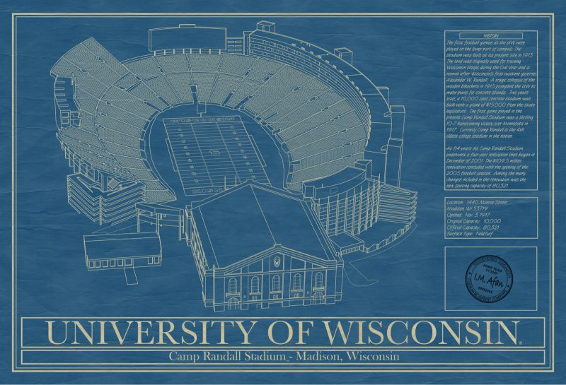 Wisconsin - Camp Randall Stadium - Blueprint Art