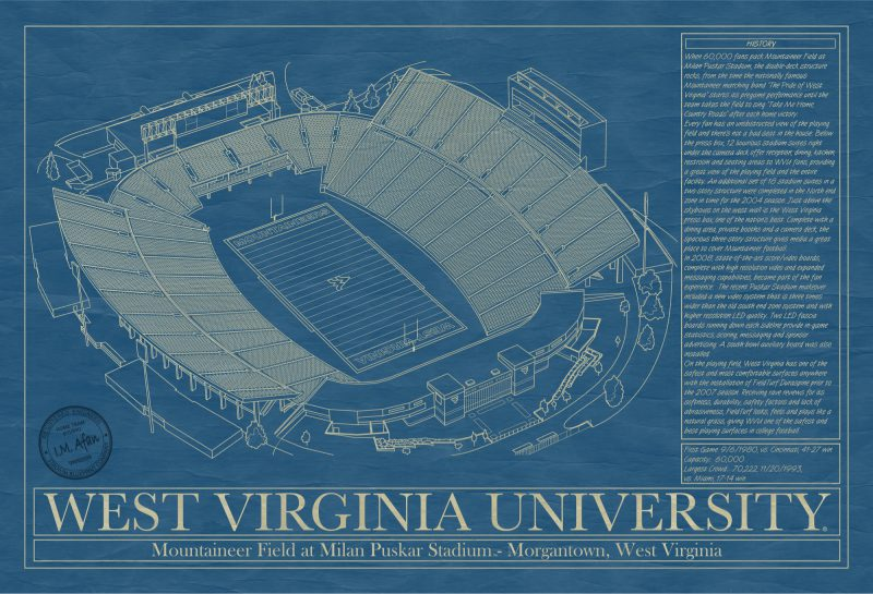 West Virginia University - Mountaineer Field at Milan Puskar Stadium - Blueprint Art