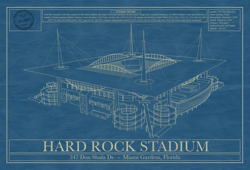 Miami - Hard Rock Stadium - Blueprint Art